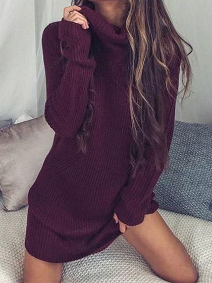 Casual Knit Turtleneck Solid Color Sweater Dress