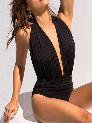 Halter Black Solid Sexy One Piece Swimsuit