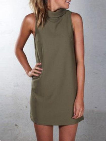 Fashion Sleeveless Solid Color Dress