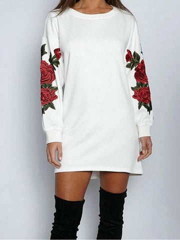 Harmony Embroidery Round Neckline Long Sleeve Top Dress