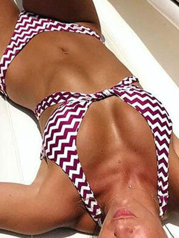 Stripy Red Striped Halter Bikini Set