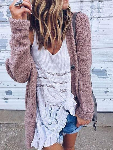 Fashion Pink Plain Single Breasted Long Sleeve Cardigan