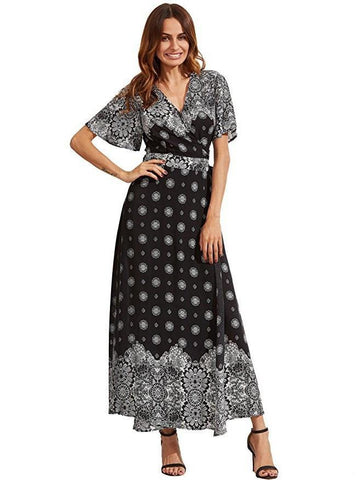 Bohemia Floral Side Split with Tie Short Sleeve Maxi Dress