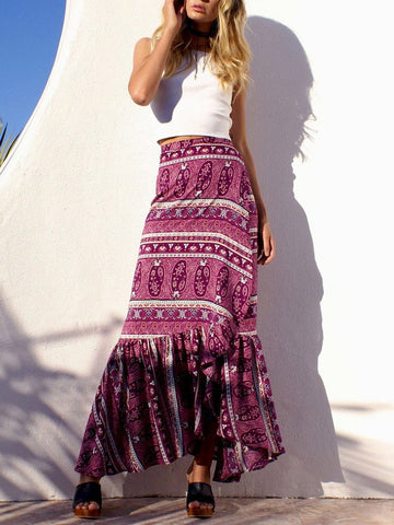 Pretty Chiffon Bohemia Floral Front Split Long Skirt Bottoms