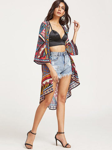 Beautiful Retro Floral-Print Half Sleeve Beach Cover-Ups
