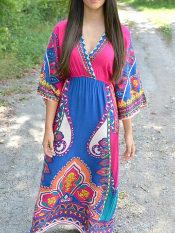 Beautiful Floral-Print Half Sleeve V Neck Bohemia Maxi Dress