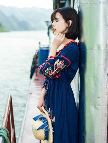 Pretty Inwrought Floral-Printed Long Sleeves Bohemia Maxi Dress
