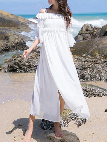 White Chiffon Off-Shoulder Short Sleeve Side Split Beach Maxi Dress