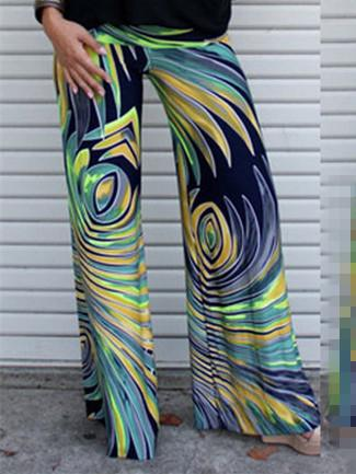 Popular Green Feather Printed Wide Leg Long Pant