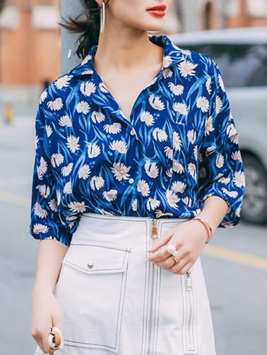 In Stock Floral-Printed Half Sleeve Lapel V Neck T-Shirt Tops