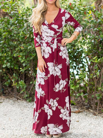 Pretty Red Floral-Printed V-neck Raised Bands Bohemia Maxi Dress