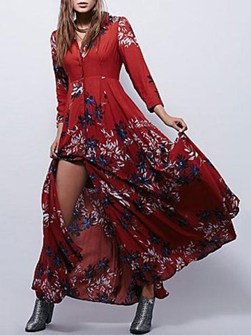 Autumn Floral 3/4 Sleeve V-neck Split-front Bohemia Maxi Dress