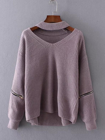 Fashion Solid Color V-neck Split Joint Zipper Sweater Tops