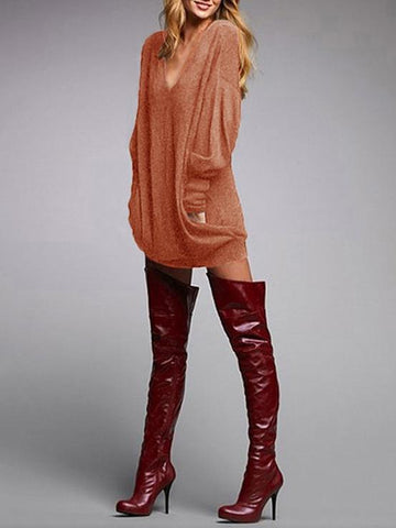 Autumn Fashion Solid Color V-neck Long Sleeve Blouses&Shirts Tops