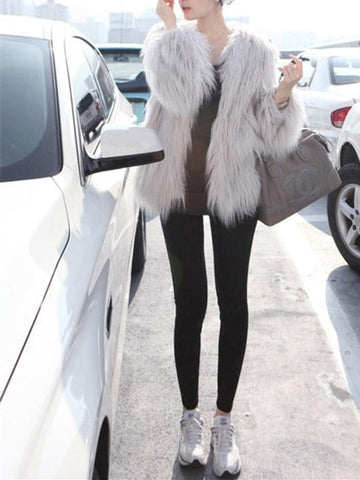 Fashion Solid Color Faux Fur Coat