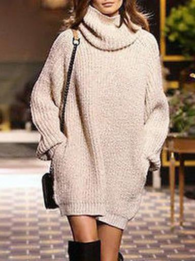 Knitting High-neck Loose Sweater Dress