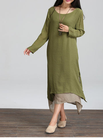 Retro Asymmetric Long Sleeve Round Collar Maxi Dress