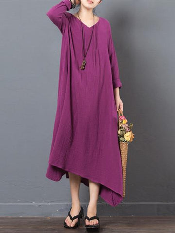 Vintage Asymmetric V-neck Long Sleeve Ramie Cotton Dress