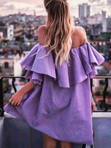 Fashion Falbala Off-the-shoulder Mini Dress