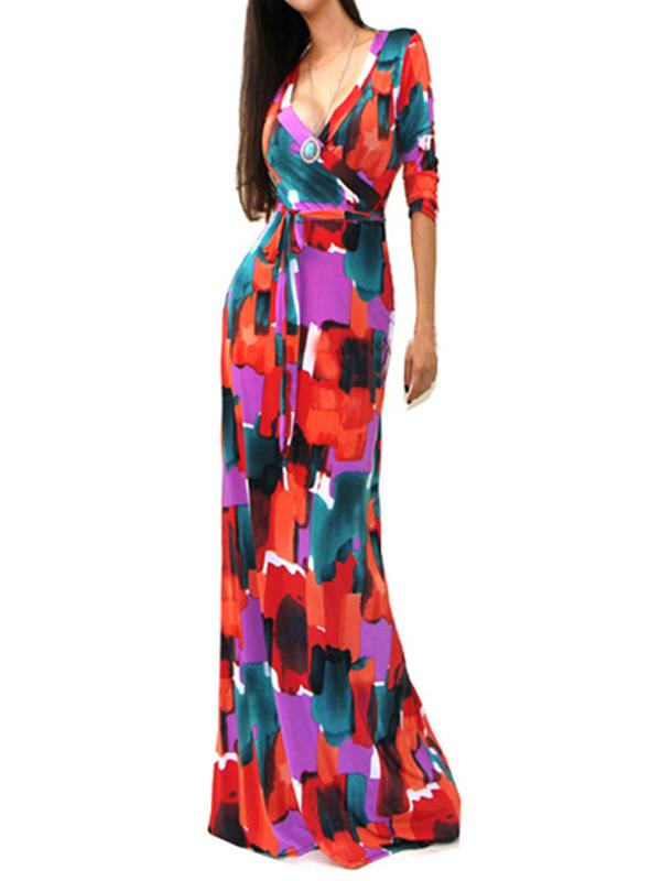 Fashion Printed V-neck High-waist Maxi Dress