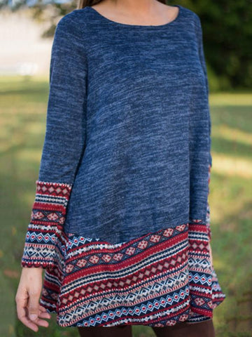 Blue Knitting Round-neck Sweater Dresses