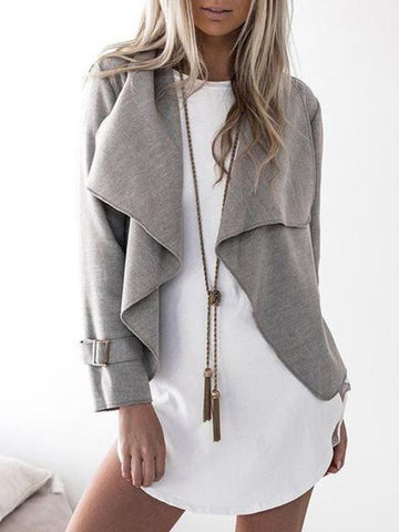 Woolen Cropped Solid Color Outwear