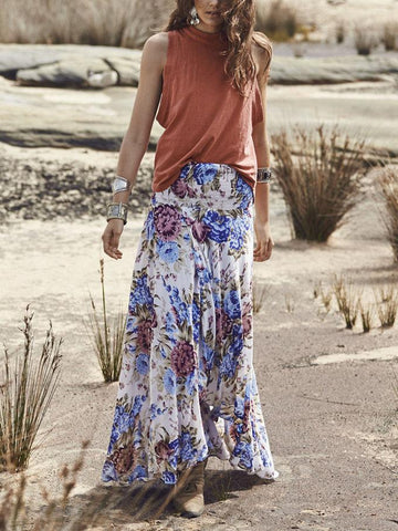 Vintage Floral-Printed Bohemia Skirt Bottoms