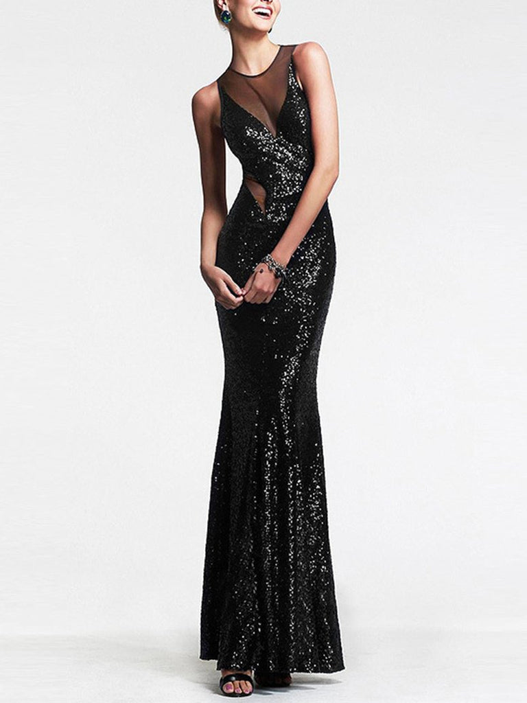 Evening Sequined See-through Backless Mermaid Maxi Dress