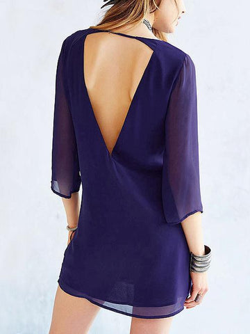 Chiffon 3/4 Sleeves V-neck Backless Mini Dress