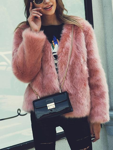 Four Solid Colors Faux Fur Coat
