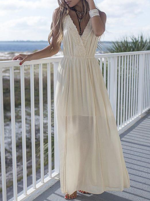 Apricot Spaghetti-neck Sleeveless Bohemia Maxi Dress