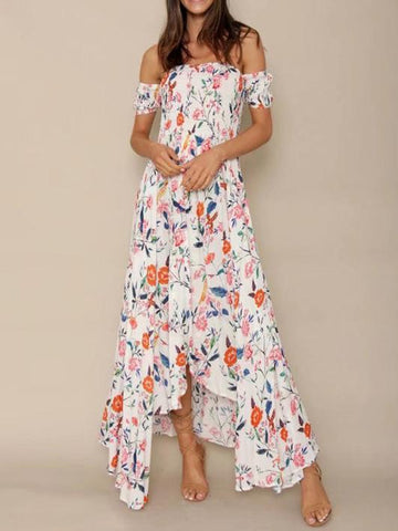 Floral Off-the-shoulder Split-front Maxi Dress