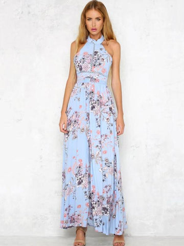 Blue Halterneck Floral Split-side Maxi Dress