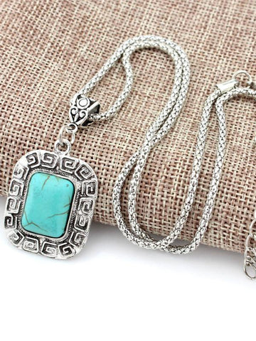 Square Pattern Turquoise Necklaces Accessories