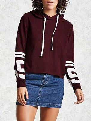 Red Printed Round-neck With Hat Long Sleeve Hoodies Tops