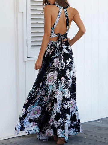 Floral-printed Sleeveless Split-side Backless Maxi Dress
