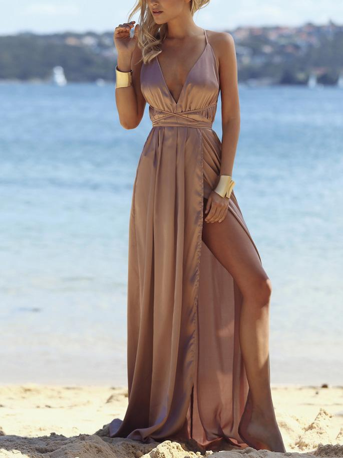 Deep V-neck Backless Split-side Maxi Dress