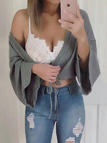 Pretty Solid Color Flared Sleeves Sweater Cardigan Tops