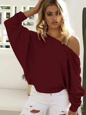 Fashion Off-the-shoulder Batwing Sleeves Sweater Tops