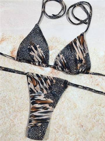 Sexy Leopard  Removable Strap Wrap Bikini Set
