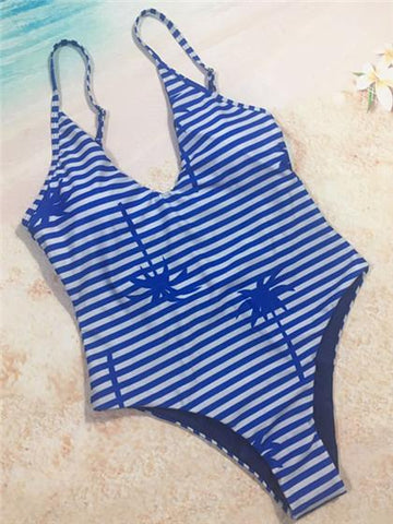 Blue Strip Printing Reversible Bikini Set