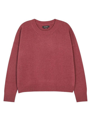 Knitting Wine Red Round Neck Sweater Tops