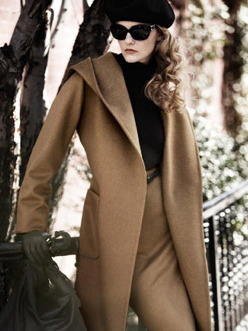 Fashion Solid Color Lapel Neck With Hat Long Outwears