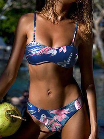 Fashion Women's Plant Printing Navy Bikini Set