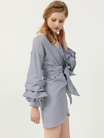 Sexy Asymmetric V-neck Belted Puff Sleeves Mini Dress