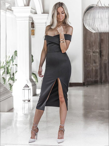 Off-the-shoulder Split-side Midi Dress