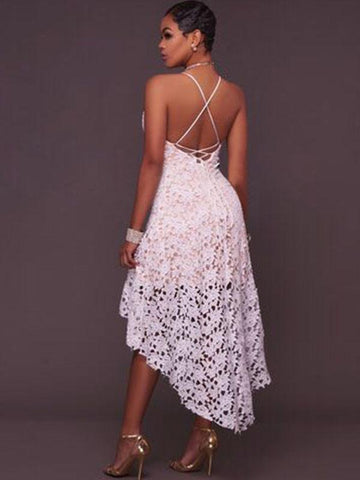 White Spaghetti-neck Backless Evening Dress
