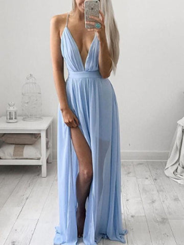 Beautiful Halter Deep V-Neck Maxi Dress Evening Dress