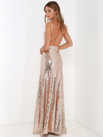 Backless Sequined Evening Dress