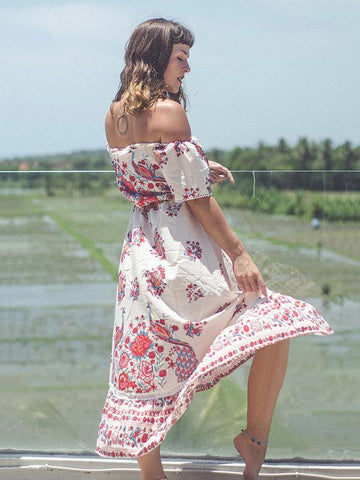 Pretty Floral Off-the-shoulder Bohemia Maxi Dress